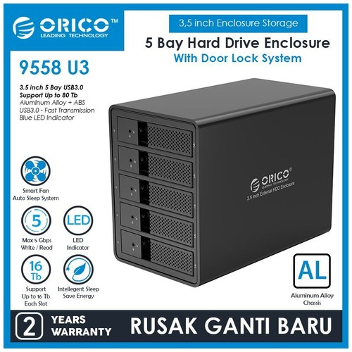 Orico Aluminum USB3.0 5 bay 3.5 inch SATA Hard Drive Enclosure (9558U3)