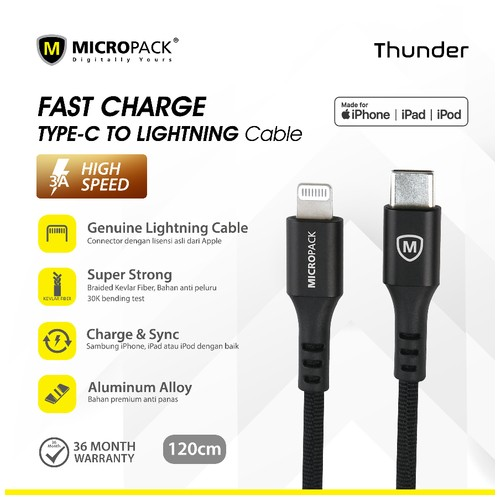 Micropack Cable Thunder USB-C To Lightning 120cm Black