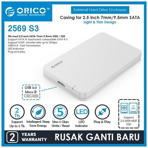 Orico Portable 2.5 inch SATAIII USB3.0 External HDD Enclosure (2569S3) - Silver