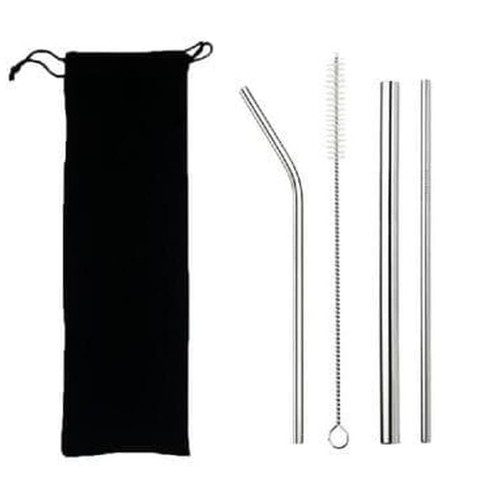 5pcs Sedotan Stainless Besi Premium Pouch Set Reuseable Straw Rainbow