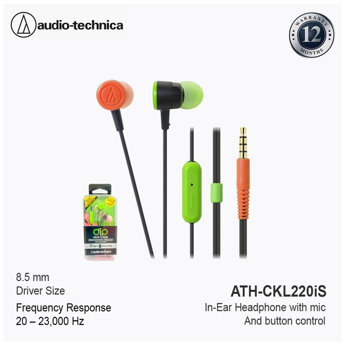 Audio Technica In Ear Headphone ATH-CKL220iS BCZ - Green Orange