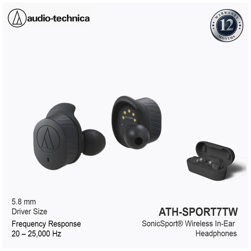 Audio Technica SonicSport Wireless In-Ear Headphones ATH-SPORT7TW  - Black