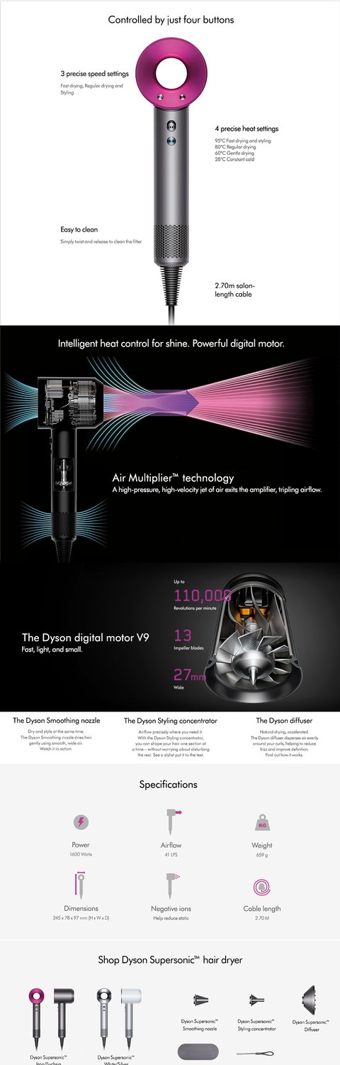 DYSON Hair Dryer Supersonic - Fuschia
