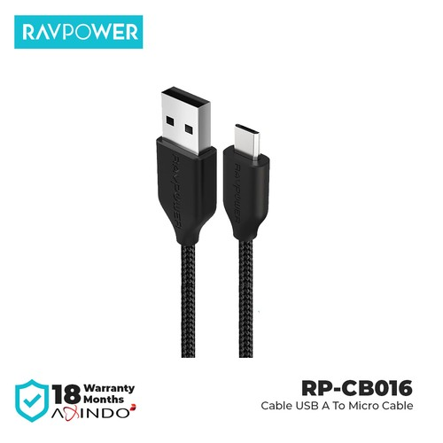 RAVPower Cable 3ft/0.9 USB A to Micro USB Cable [RP-CB016] Black