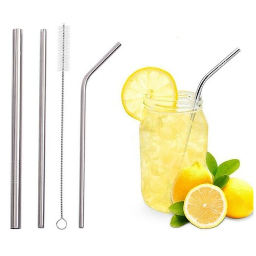 Sedotan Minuman Stainless Steel Set 5Pcs