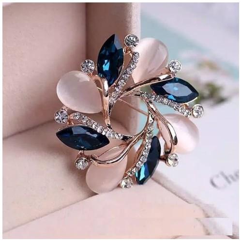 Aksesoris Elegand Bohemian Flower Bros Pin Kristal Berlian Imitasi