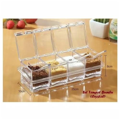 4 Pcs Tempat Bumbu Akrilik Crystal Transparan Seasoning Box