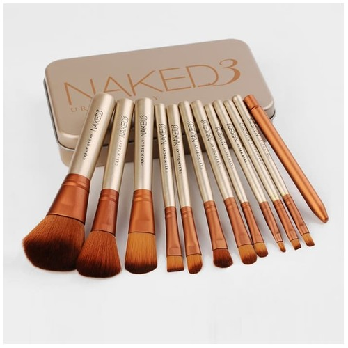 Naked 3 12pcs + Box Kaleng Make Up Brush - Kuas Urban Decay Set