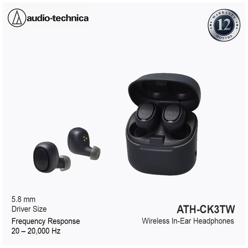 Audio-Technica ATH-CK3TW Wireless In-Ear Headphones Black