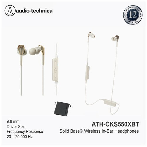 Audio-Technica ATH-CKS550XBT Solid Bass® Wireless In-Ear Headset - Champagne Gold