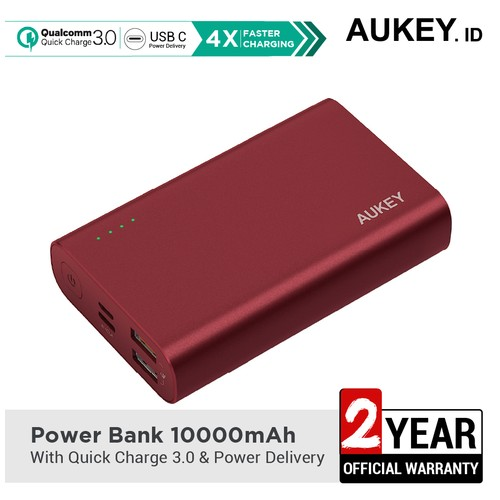 Aukey Powerbank PB-XD12 10000 mAh QC3.0 & Power Delivery - 500463 Red