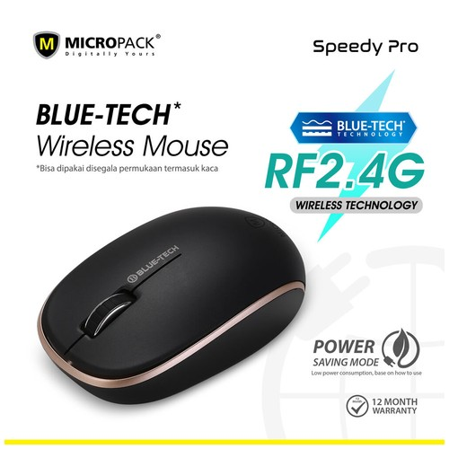 Micropack Mouse Wireless Blue-Tech Black Gold (BT-760W)