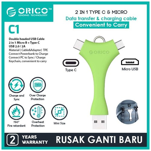 Orico Dual Port Portable Sync & Charge Data Cable (Micro B + Type-C) - C1 - Green