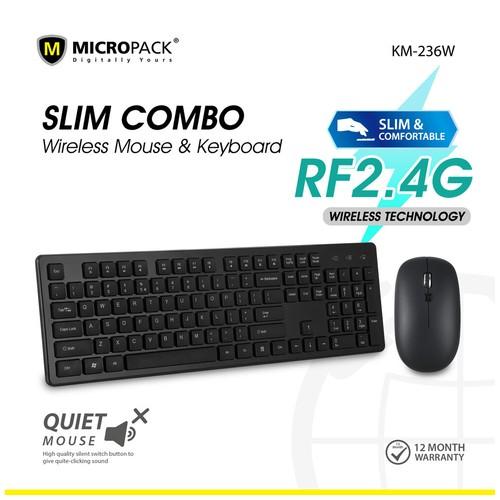 Micropack Wireless Quiet Keyboard Mouse Black (KM-236W)