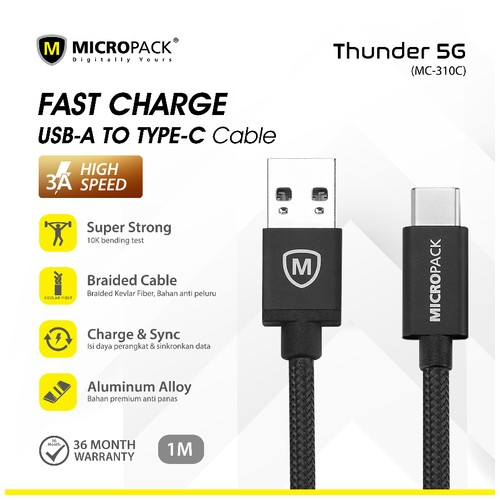 Micropack Fast Charging Braided Cable Type C 3A 1Meter (MC-310C)