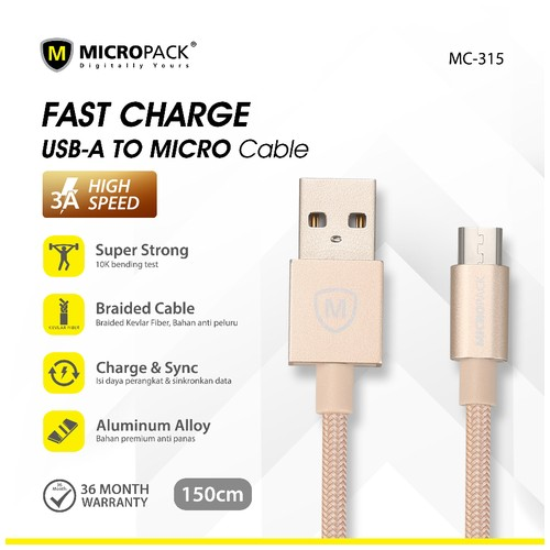 Micropack Cable Fast Charging 3A Micro USB 1.5M Gold (MC-315)
