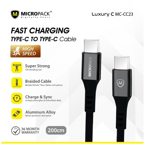 Micropack Cable Type C to Type C Fast Charging 2Meter Black