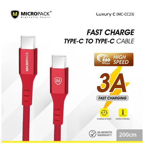 Micropack Cable Type C to Type C Fast Charging 2Meter Red (MC-CC23)