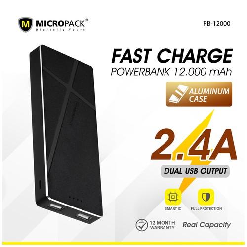 Micropack Powerbank 12000mAh Fast Charging Li-Polymer P12000 Black