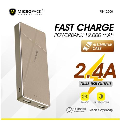 Micropack Powerbank 12000mAh Fast Charging Li-Polymer P12000 Gold