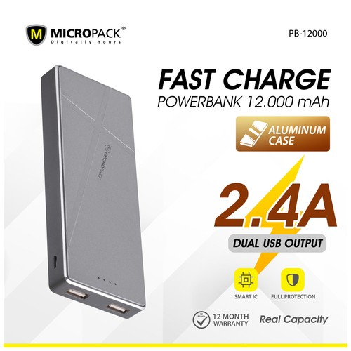 Micropack Powerbank 12000mAh Fast Charging Li-Polymer P12000 Grey