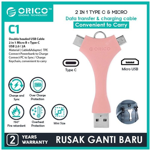 Orico Dual Port Portable Sync & Charge Data Cable (Micro B + Type-C) - C1 - Pink