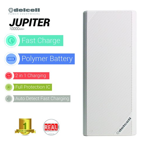 New Delcell JUPITER Powerbank 10000mAh Real Capacity Fast Charging - Putih