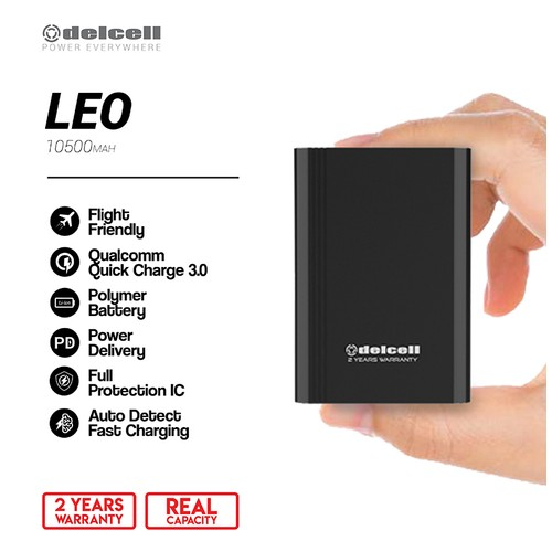 New Arrival Delcell LEO Powerbank 10500mAh QC 3.0 and PD Real Capacity- Hitam