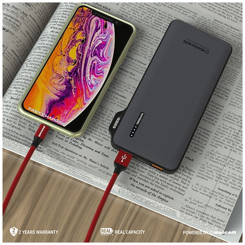 New Arrival Delcell LEAN Powerbank 10500mAh Fast Charging 3.0 + PD Real Capacity (38.85WH)- Hitam