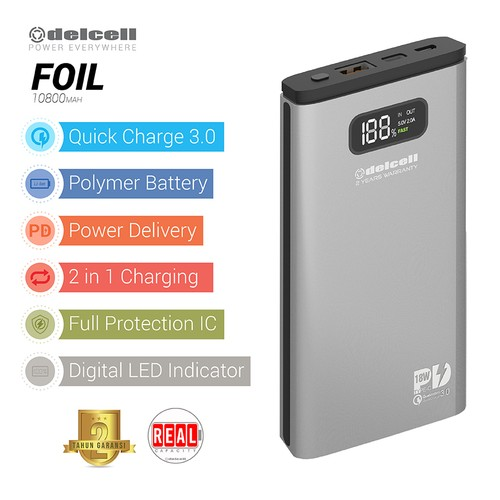 Delcell Foil 10800mAh Fast Charging 3.0 + PD Real capacity - Silver