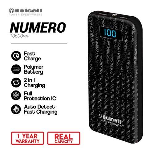 Delcell Power Bank Numero 10500mAh Fast Charger Real Capacity Polimer baterai-Hitam