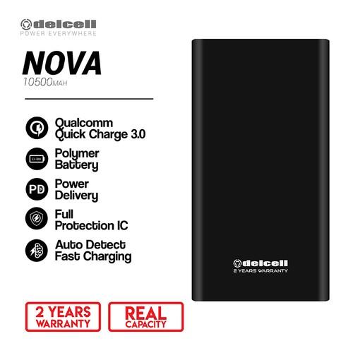 Delcell Power Bank Nova 10500mAh Qucik Charging 3.0 + PD Real Capacity- Hitam