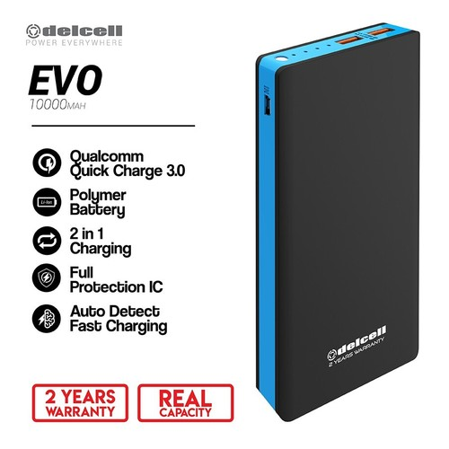 Delcell Powerbank Evo 10000mAh Quick Charging 3.0 Real Capacity garansi 2 tahun- Hitam