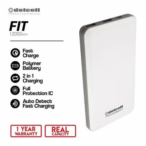Delcell Power Bank Fit 12000mAh Real Capacity Polymer Fast Charger - White