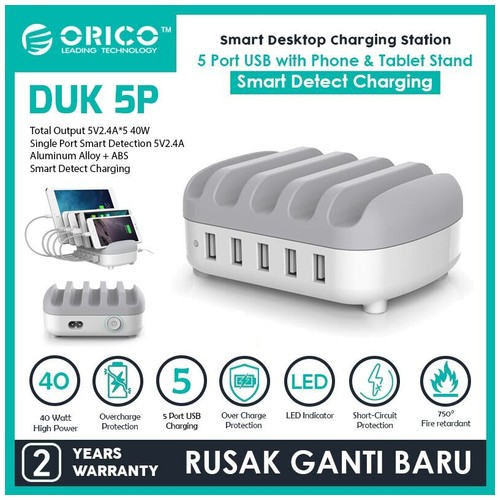 ORICO DUK-5P 5Ports USB Smart Charging Station with Phone&Tablet Stand - White