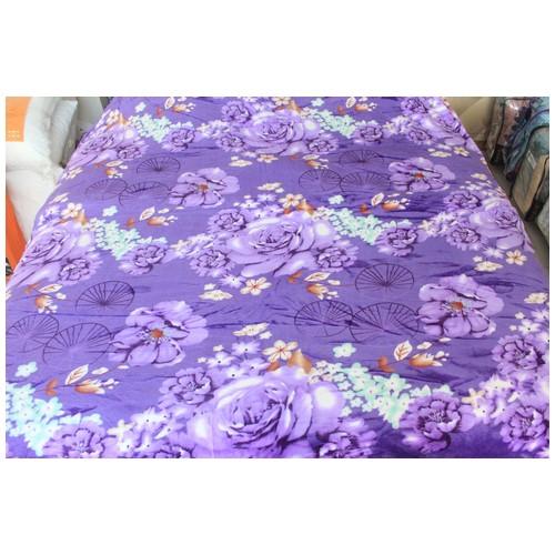 Juliahie Selimut Anak & Dewasa Polar Fleece All Motif Kamar Tidur/ Selimut Travel (180x200)  Purple Rose