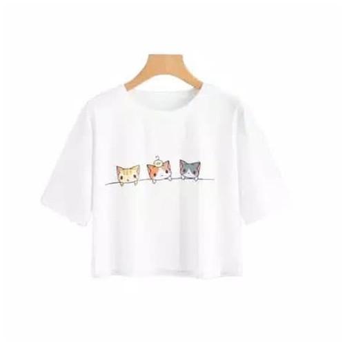 Kaos Crop Top 3 Cat T-Shirt Tumblr Tee Kaos Wanita Three Cat