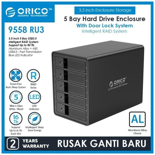 Orico Aluminum 5 bay USB3.0 to SATA HDD Enclosure with RAID Function (9558RU3)