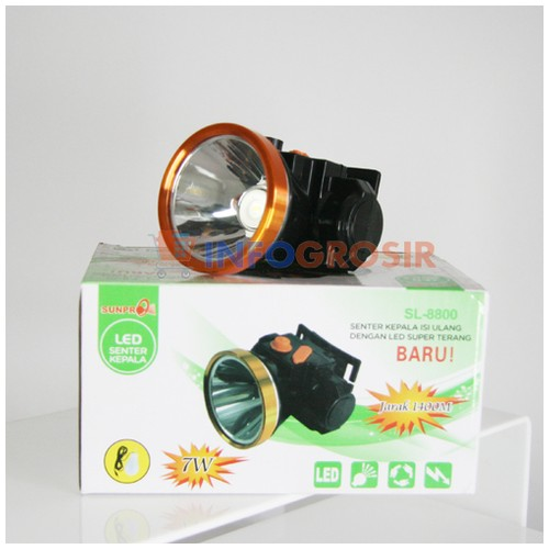 Senter Kepala Headlamp Sunpro SL 8800 Kuning 7 Watt Charger