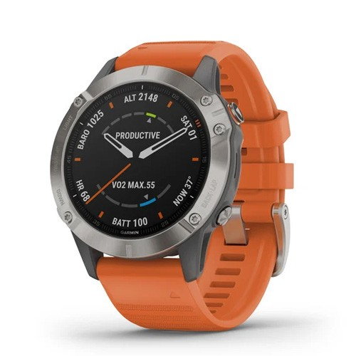 Garmin Fenix 6 - Titanium With Ember Orange Band
