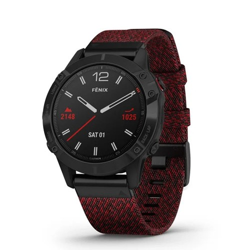 Garmin Fenix 6 47mm -  Black Dlc With Heathered Red Nylon Band