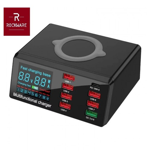 ROCKWARE X9 - 7 USB and 1 PD 18W Port with Qi Wireless Charging - 100W