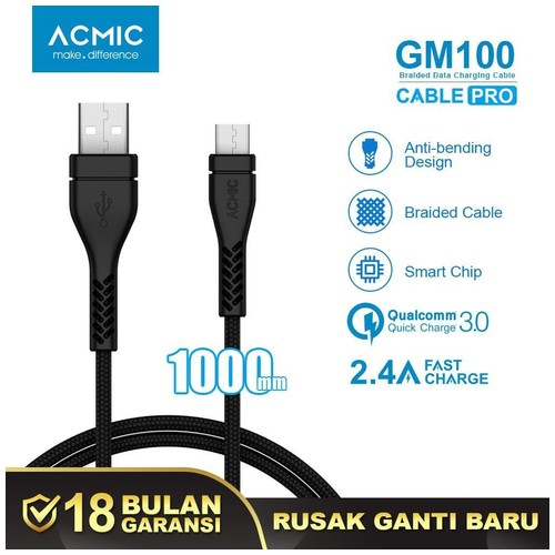 ACMIC GM100 Kabel Data Charger Micro USB 100cm Fast Charging Cable