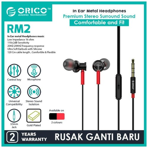 Orico SOUNDPLUS-RM2 In-ear Metal Headphones - Black