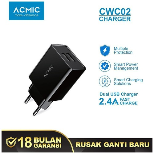 ACMIC CWC02 - Dual USB Wall Charger Adaptor Fast Charging 2.4A