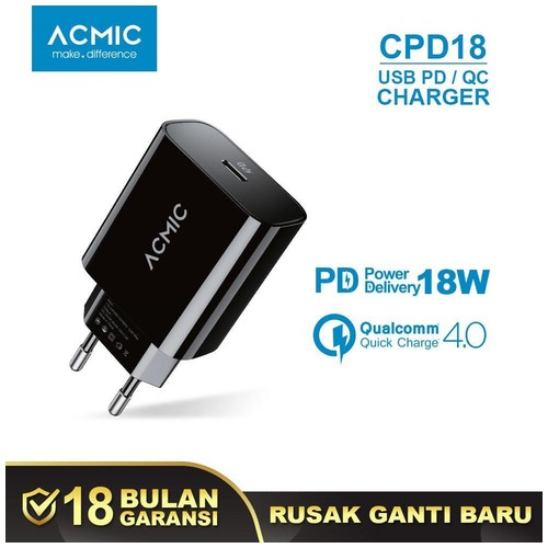 ACMIC CPD18 Charger USB-C PD Power Delivery Fast Charging iPhone 18W