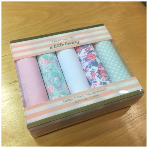 Ladies 5 Pack Handkerchiefs