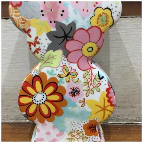 Topchoice Celengan Porselen Bear Bank Beruang - motif bunga