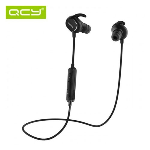 QCY QY19 Bluetooth Earphone 4.1 Wireless Earbuds Ultra Lightweight Sweatproof Sports APT-X Stereo Headset Mic Dual Battery Black [TKU]