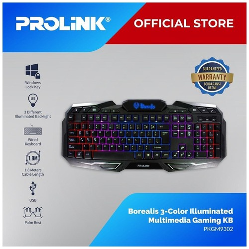Prolink Gaming Keyboard Borealis 3-color illuminated Multimedia PKGM9302